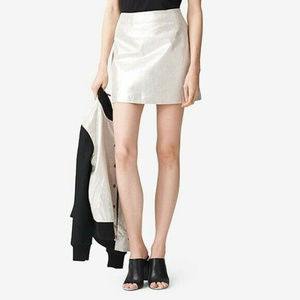 KATE SPADE Leather Off-White Silver Metallic Skirt